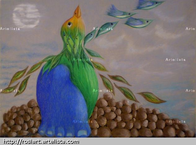 Pájaro azul Pastel Panel Figure Painting