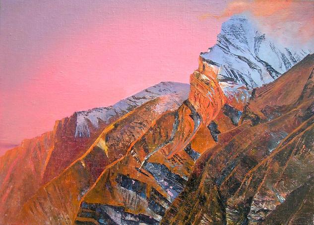 Annapurna Gorge Paisaje Lienzo Óleo