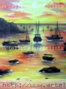 O por do sol Óleo Tela Marina