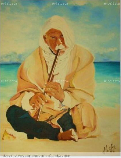 El flautista en la playa Lienzo Óleo Paisaje