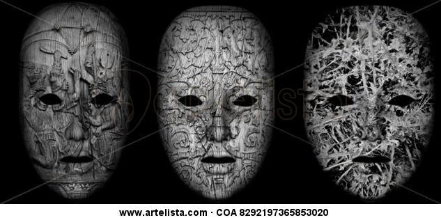 Máscaras 3 tríptico Blanco y Negro (Digital) Otras temáticas