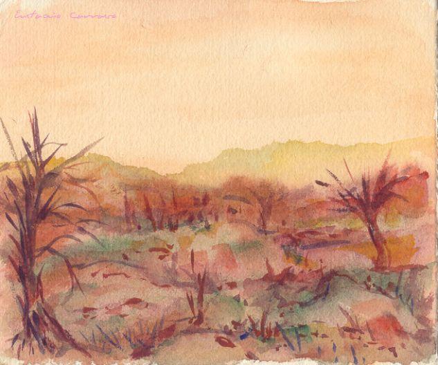 Paisaje de invierno con dos árboles secos