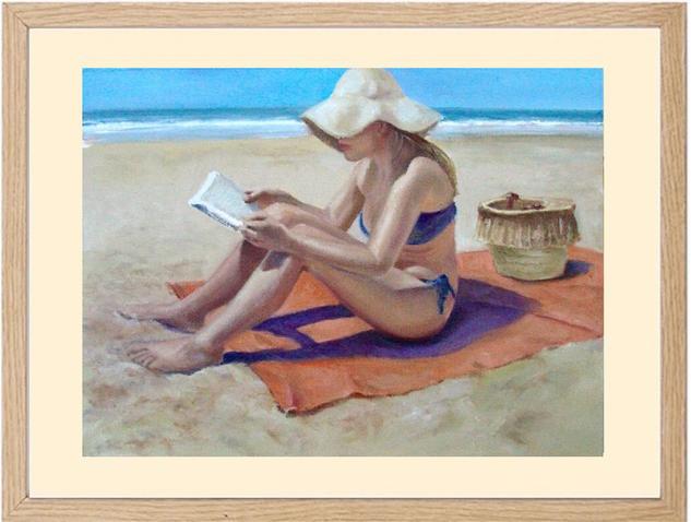 Lectura en la Playa Papel Óleo Marina