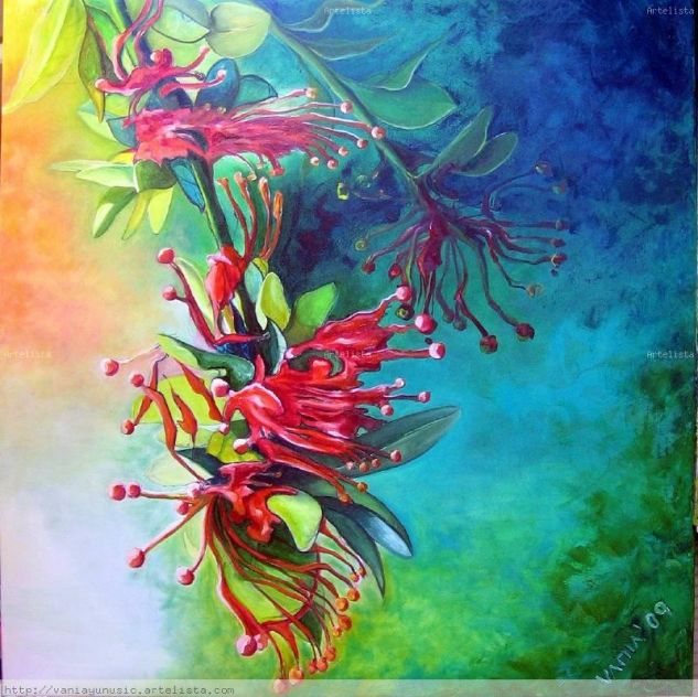 CIRUELILLO - NOTRO - VERTICAL Oil Canvas Floral Painting