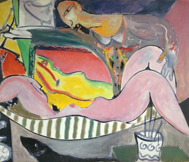El pintor la modelo y el espejo. Desnudos Acrílico Lienzo
