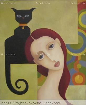 Jeanne con gato negro