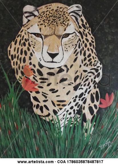 chita corriendo entre flores Lienzo Acrílico Animales