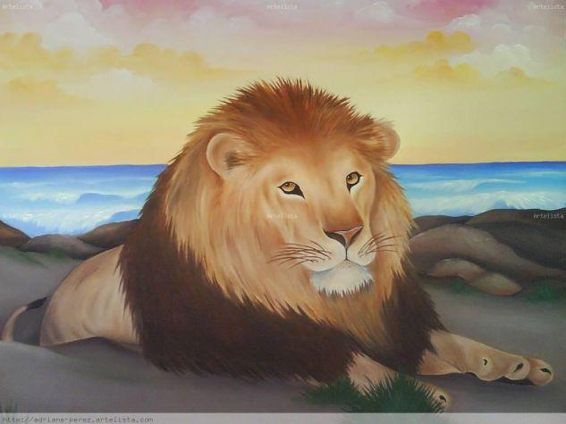 O leão Tela Óleo Animales