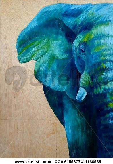 Elefante Oil Animals Panel