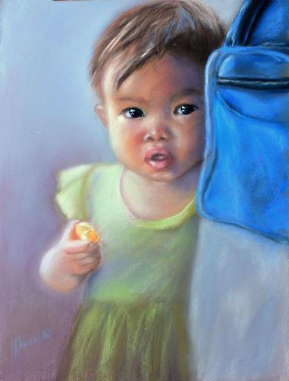 Niña camboyana Papel Pastel Retrato