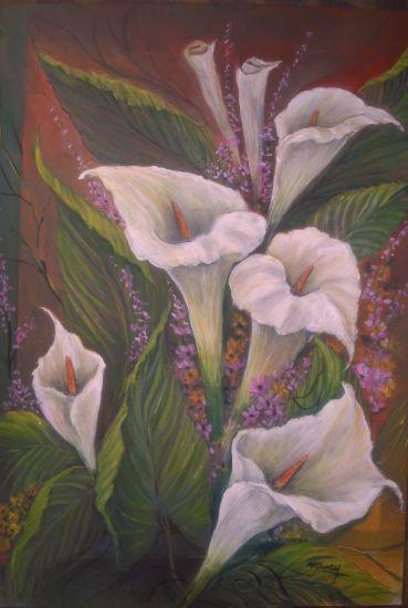 CALAS BLANCAS  Óleo Lienzo Floral