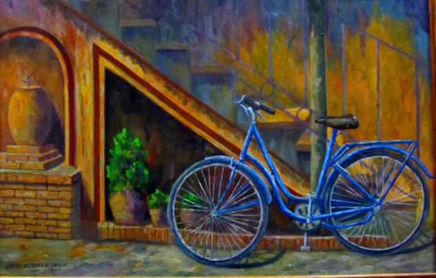 bicicleta azul Tabla Óleo Figura