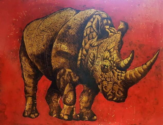 Rhino Animales Tabla Óleo