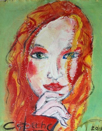 Juana la rubia Canvas Acrylic Portrait