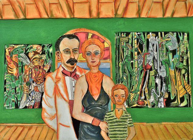 Marti con Carmen Miyares y Maria Montilla  en Palacio Pastel Cartulina Paisaje