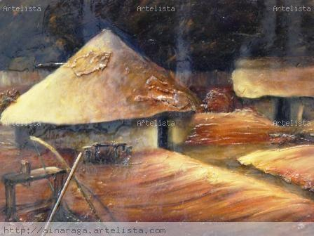 AZTECA III Óleo Piel Paisaje