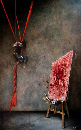 La sangre perece en la vida, pero es inmortal en el arte. Lienzo Óleo Figura