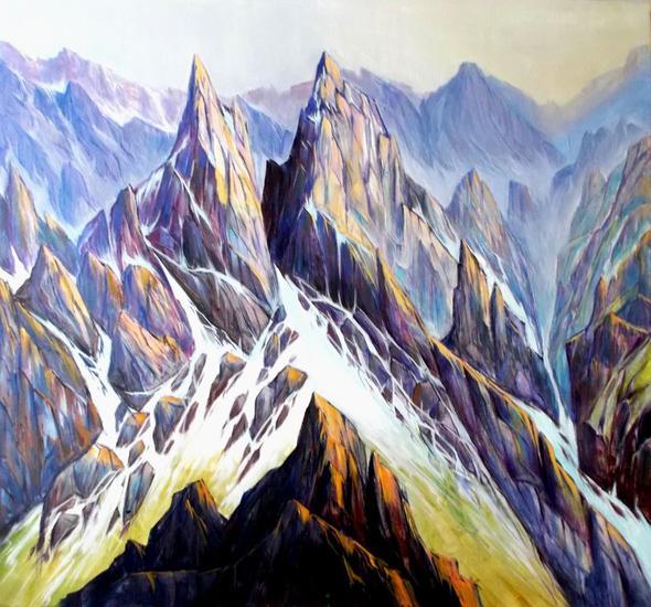 Picos de Europa-collado angosto - 235 Paisaje Acrílico Lienzo