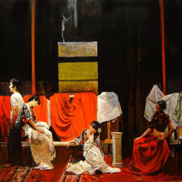 Tres Mujeres y un Varon Tabla Óleo Figura