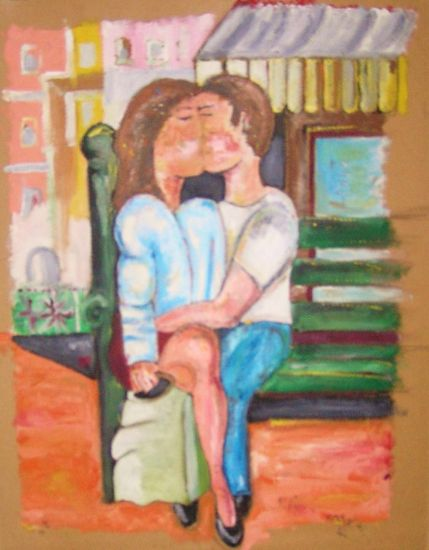 el beso Lienzo Óleo Figura