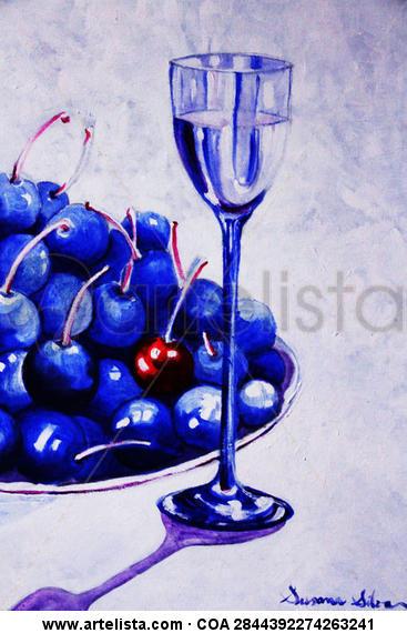 """Título: """"Cerezas azules"""" Bodegones Acrílico Lienzo"""
