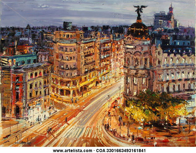 """Noche de Madrid"" Lienzo Óleo Paisaje"