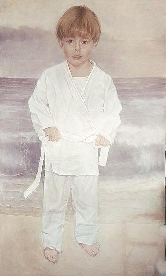 El primer kimono Portrait Oil Canvas