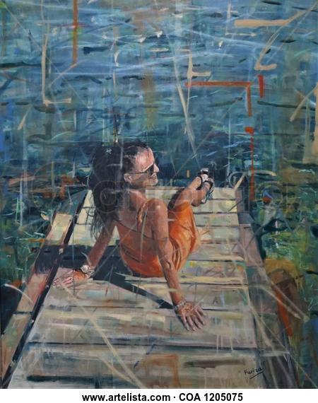 Tomando el sol Figure Painting Oil Canvas