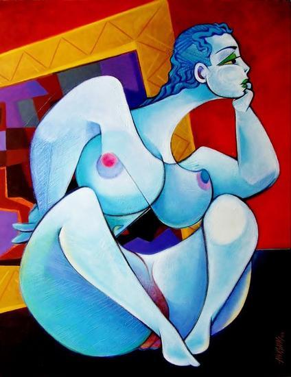 Modelo Composición I Canvas Acrylic Nude Paintings