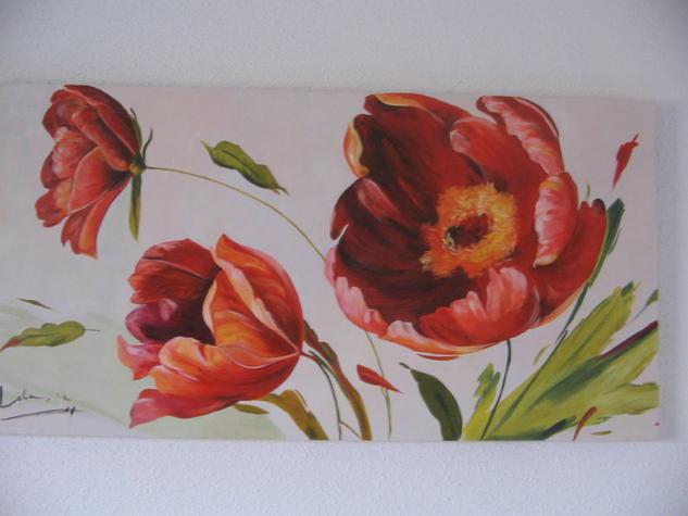 TULIPANES Lienzo Óleo Floral