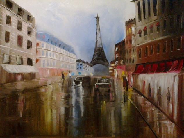Paris bajo la lluvia Lienzo Óleo Paisaje