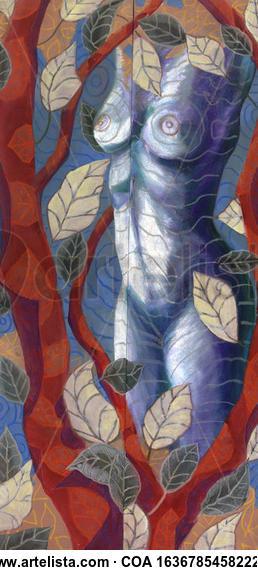Entre los árboles Nude Paintings Acrylic Canvas