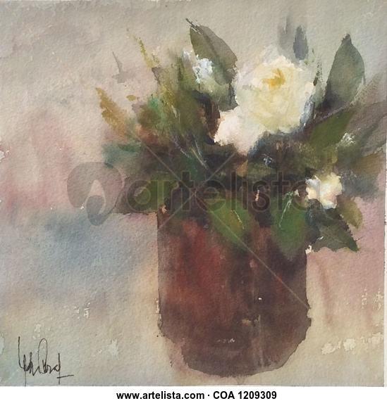 Rosa Blanca  Floral Acuarela Papel