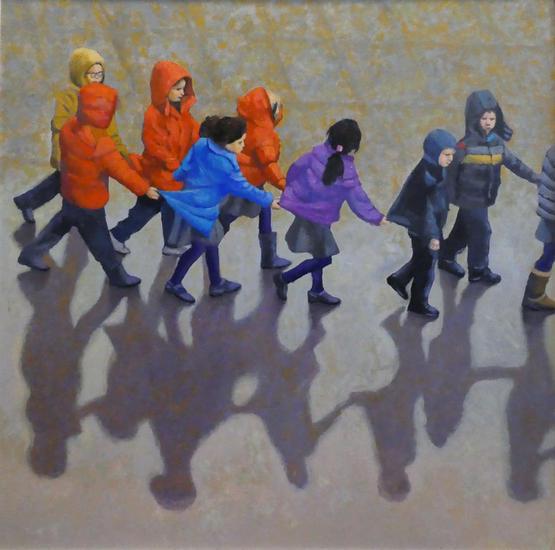 Hacia el Museo Figure Painting Oil Panel
