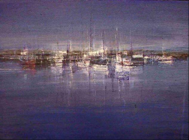Barcas en invierno Acrílico Tabla