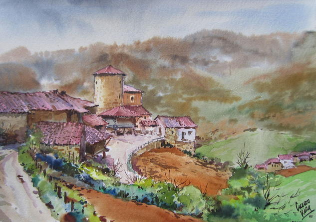 Bandujo-Proaza-Asturias Landscaping Paper Watercolour