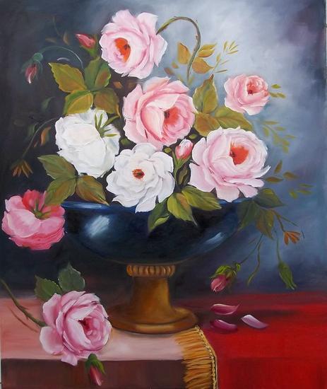 FLORAL 336 Floral Óleo Tela