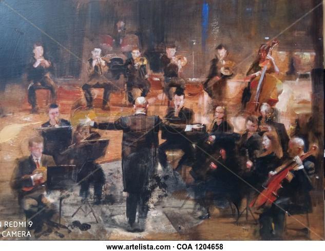 Orquesta Figura Óleo Tabla