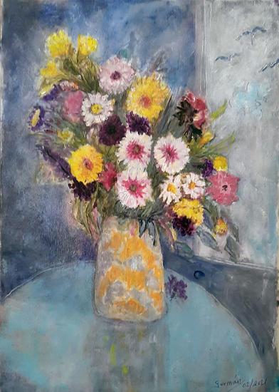 jarón y flores Bodegones Óleo Lienzo
