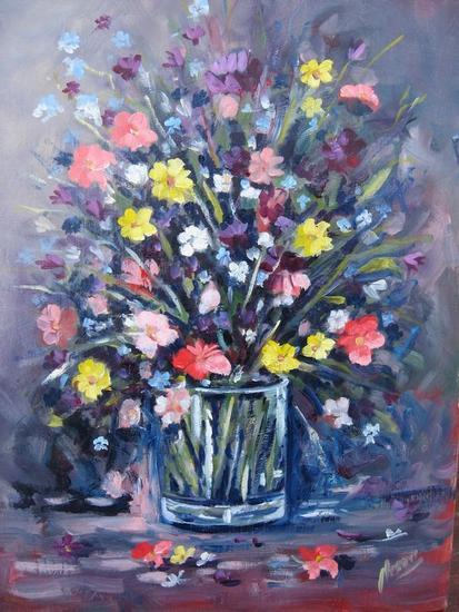 FLORES EN VASO  Tabla Óleo Floral
