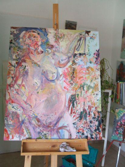 desnuda con pinceles y flores Óleo Lienzo Desnudos