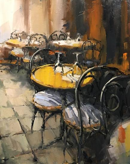cafe parisino Landscaping Canvas Oil