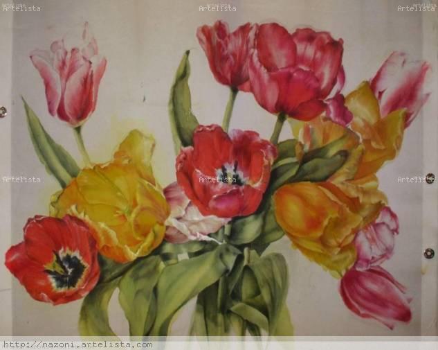 Tulipanes de Amsterdam. Tinta Tela Floral
