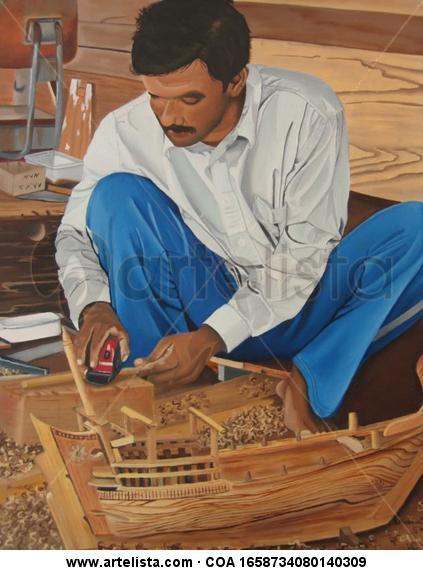 Abdu y el dhow Lienzo Óleo Retrato