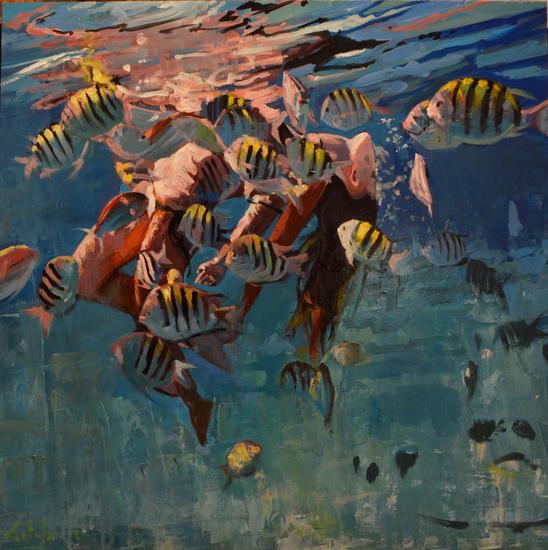 Danzando bajo el agua Marine Painting Oil Panel
