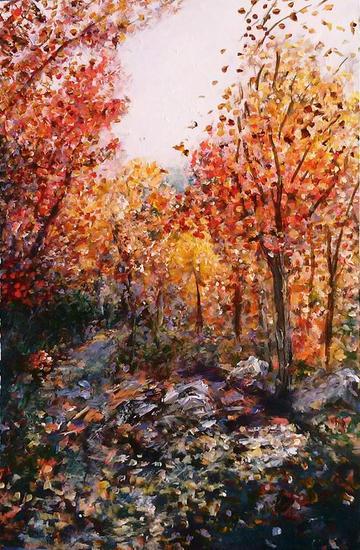 Hacia el otoño Tabla Acrílico Paisaje