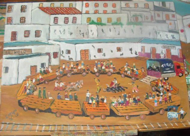 Corrida de toros en un pueblo (Adra) óleo sobre madera 80x60 cm de Crespo Óleo Tabla Paisaje