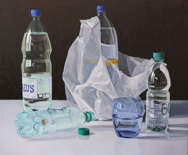 """BOTELLAS Y VASO AZUL"" Canvas Oil Still Life Paintings"