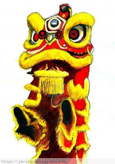 Barongsai (Lion Dance) Acuarela Papel Otros