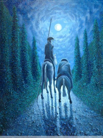 Don Quijote y Sancho en azul 2 Óleo Lienzo Figura